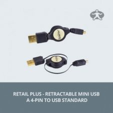 Retail Plus - Retractable Mini USB A 4-pin to USB Standard
