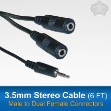 3.5mm Stereo Y Cable - Male to Dual Female (6 foot)