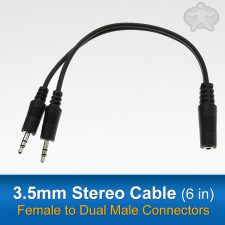 3.5mm Stereo Cable (6 FT)Male to Dual Female Connectors